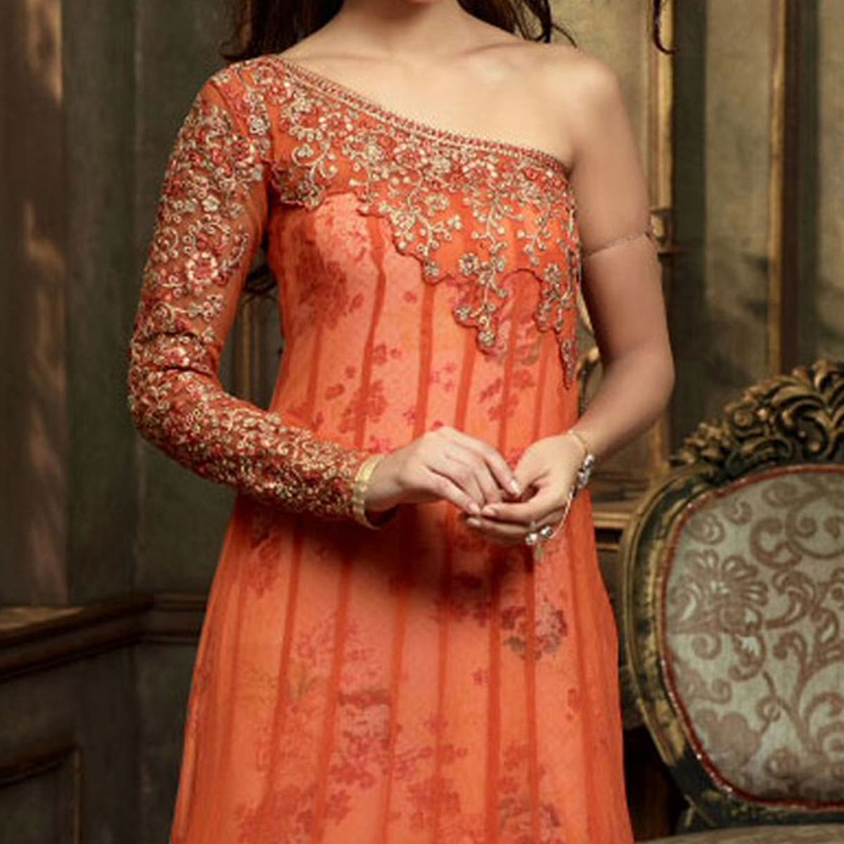 Orange Net Embroidered Gown