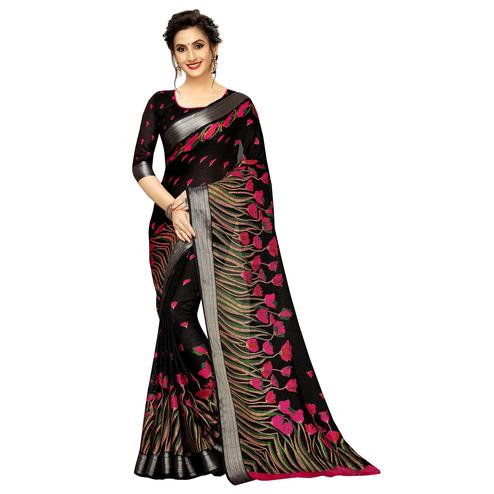 Attractive Black Colored Casual Printed Linen Saree