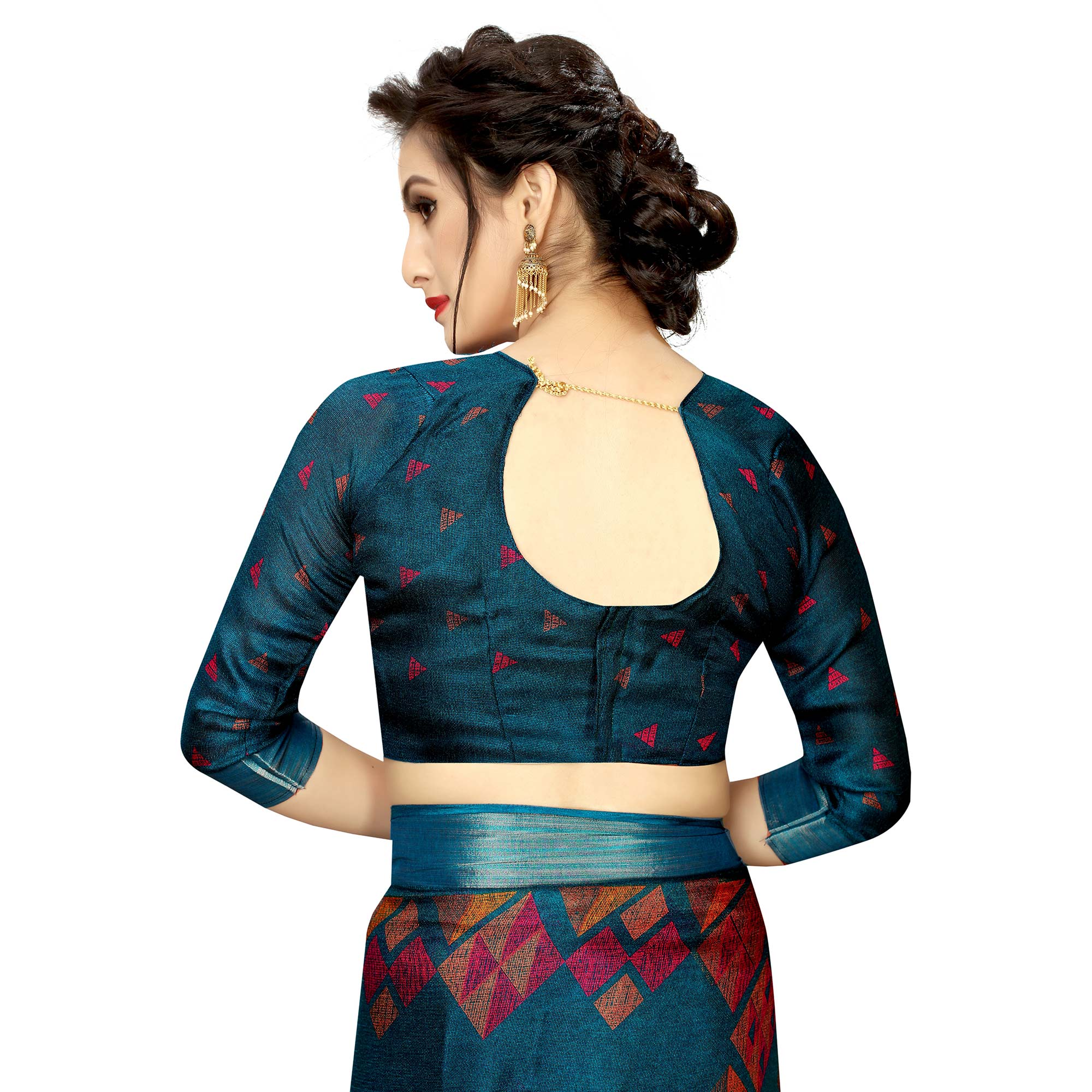 Beautiful Teal Blue Colored Casual Printed Linen Saree