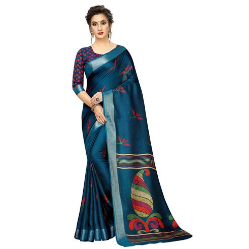 Graceful Blue Colored Casual Printed Linen Saree