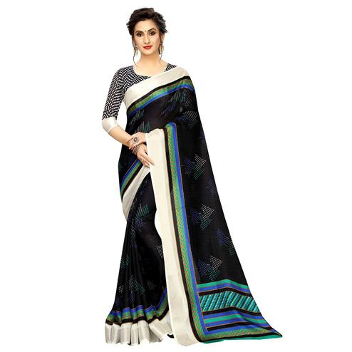 Blooming Dark Blue Colored Casual Printed Linen Saree
