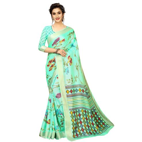 Charming Aqua Green Colored Casual Printed Linen Saree