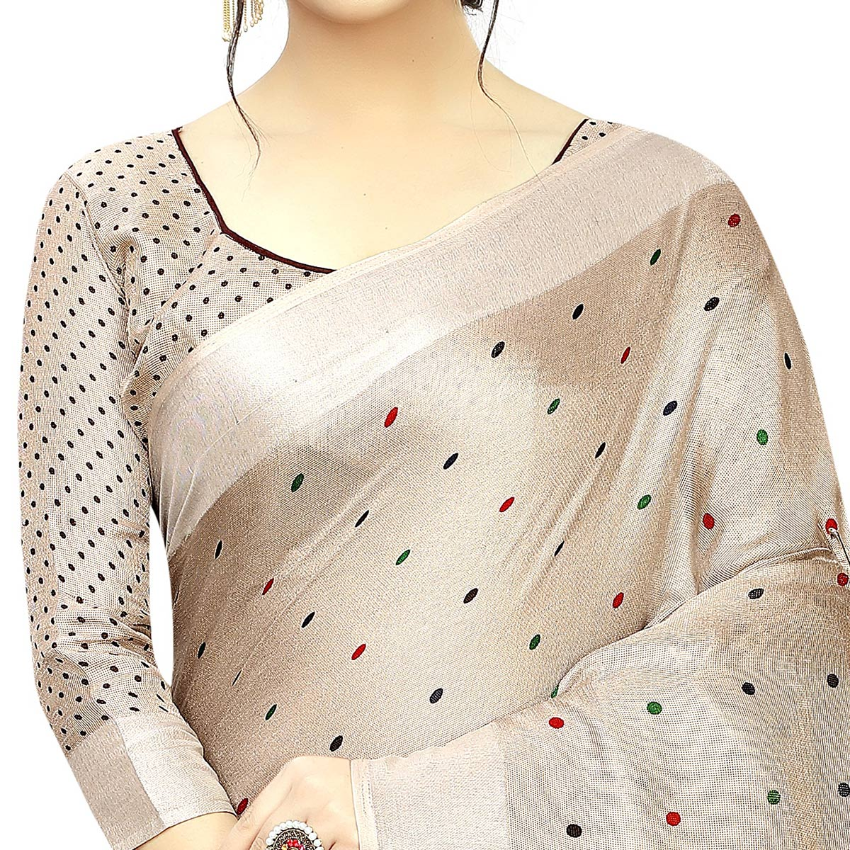 Innovative Beige Colored Casual Printed Linen Saree