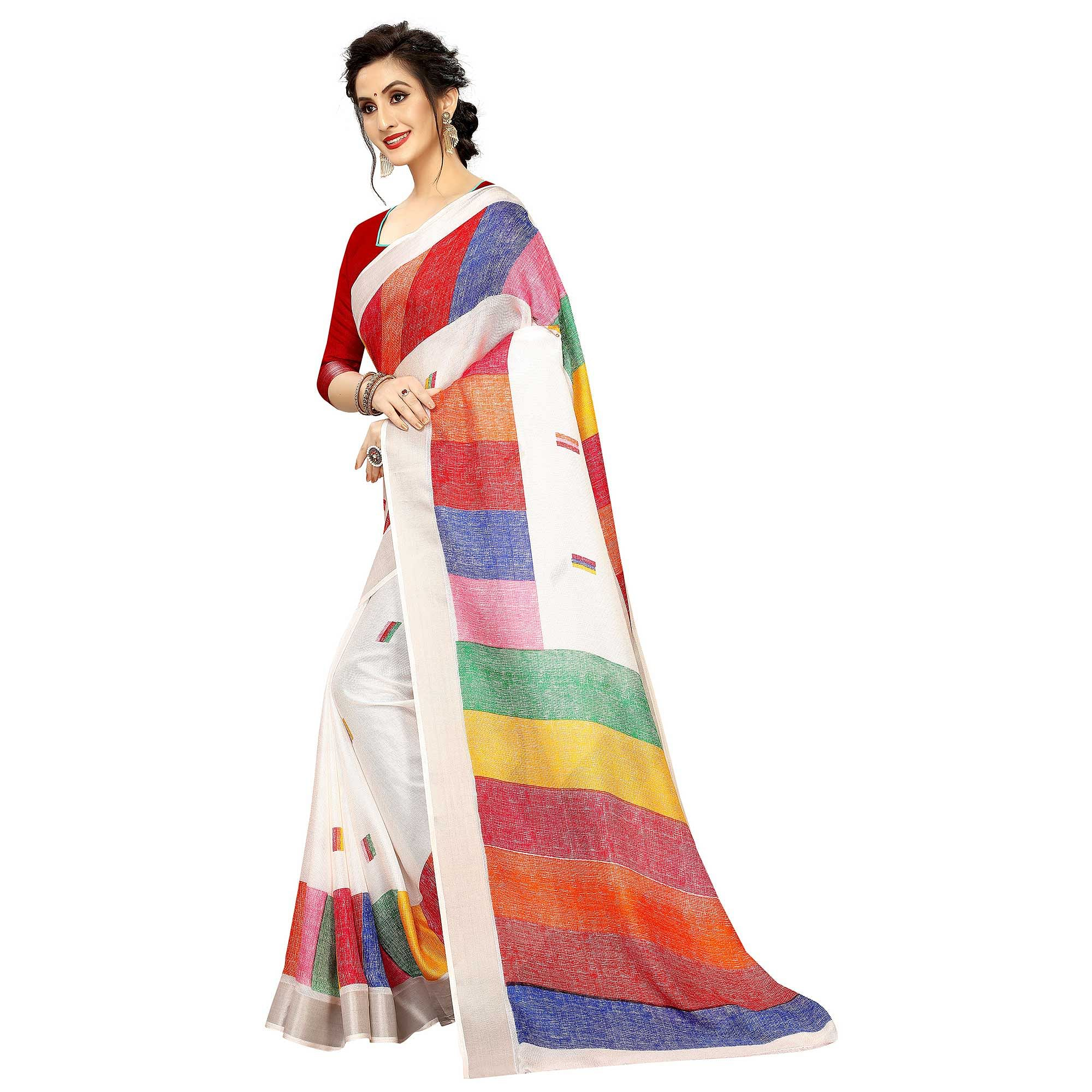 Delightful Multi Colored Casual Printed Linen Saree