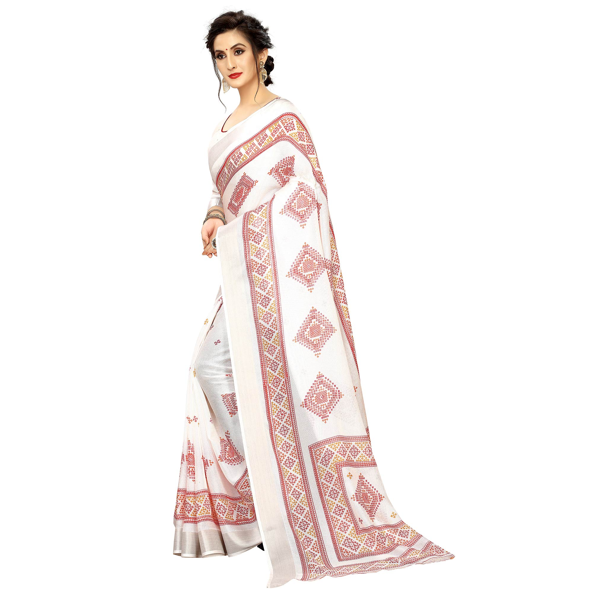 Engrossing White Colored Casual Printed Linen Saree