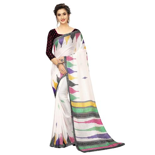 Captivating White-Multi Colored Casual Printed Linen Saree