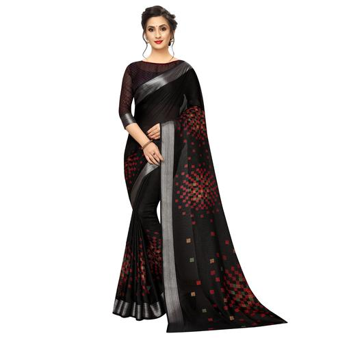 Charming Black Colored Casual Wear Printed Linen Saree