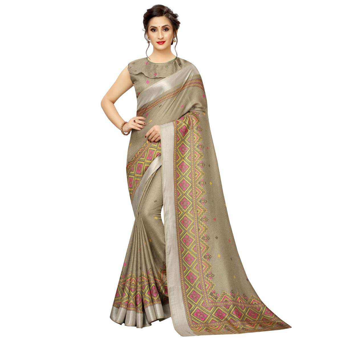 Jazzy Brown Colored Casual Wear Printed Linen Saree