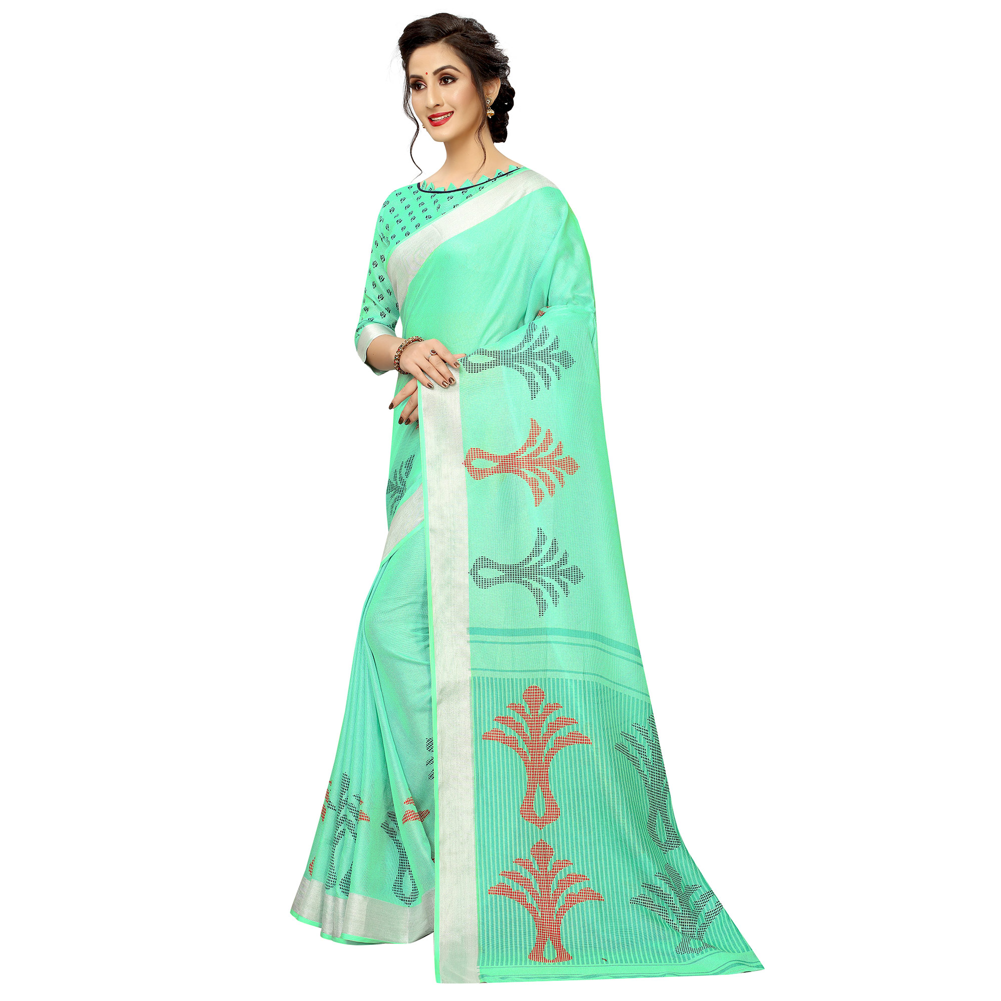 Delightful Turquoise Green Colored Casual Wear Printed Linen Saree