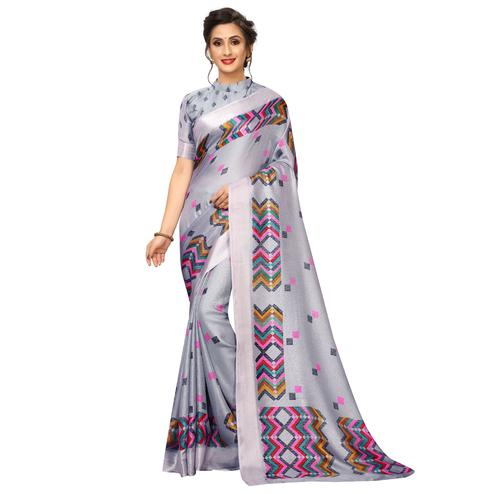 Engrossing Grey Colored Casual Wear Printed Linen Saree
