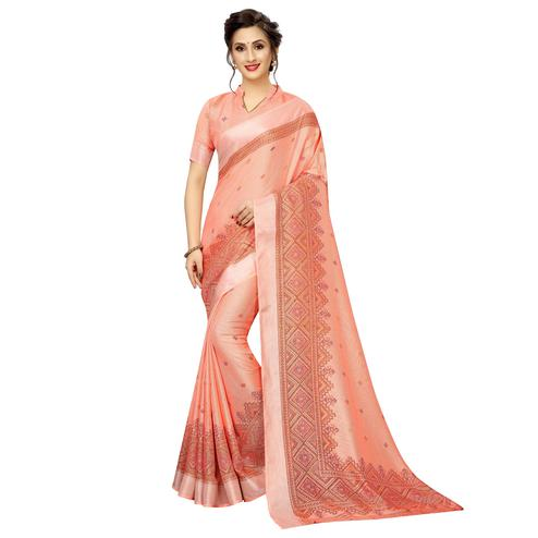 Innovative Peach Colored Casual Wear Printed Linen Saree