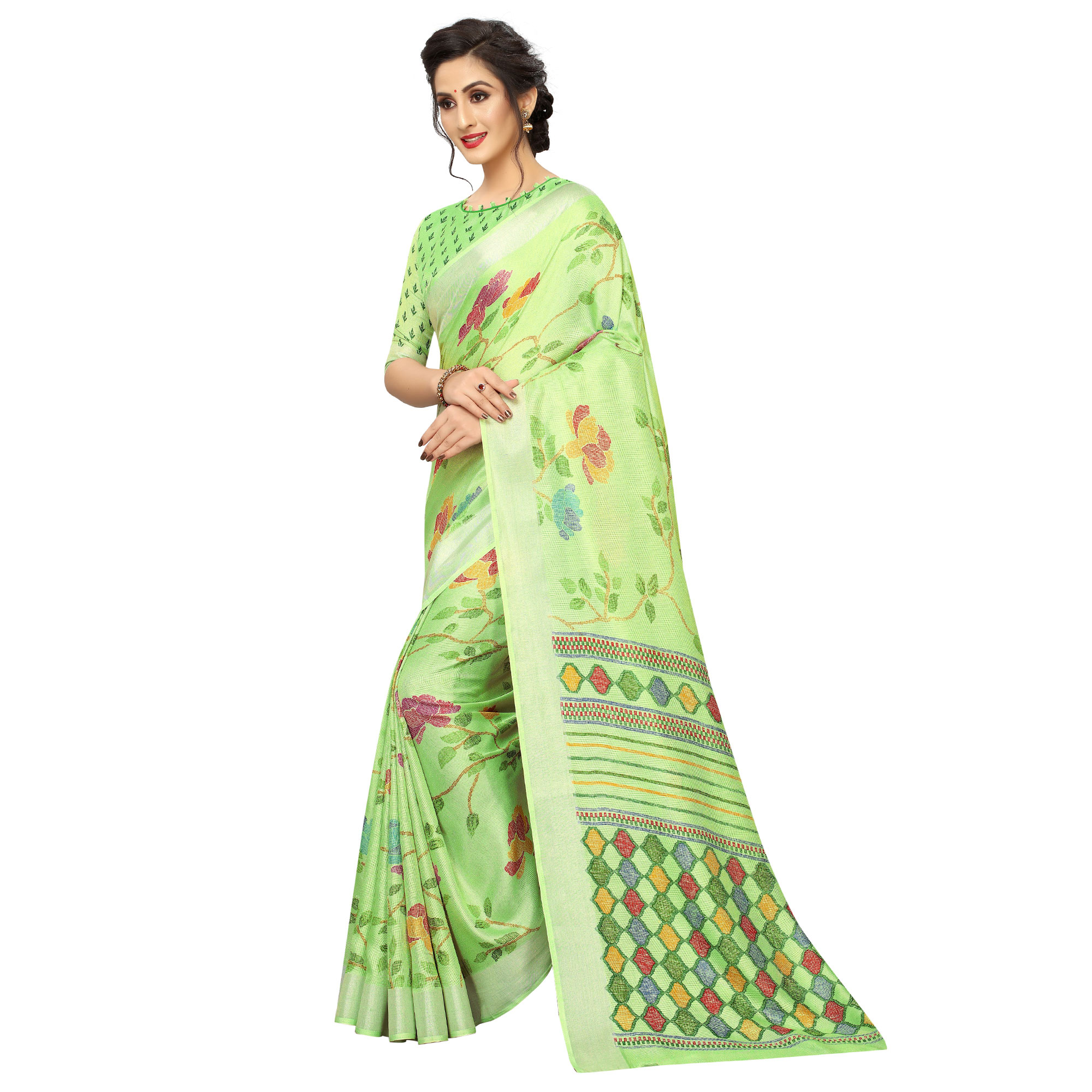 Eye-catching Green Colored Casual Wear Printed Linen Saree