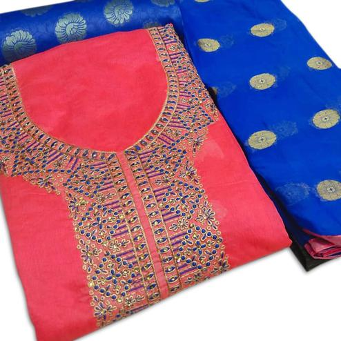 Appealing Gajari Colored Party Wear Embroidered Chanderi Silk Dress Material