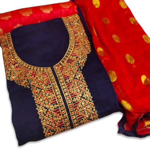 Capricious Navy Blue Colored Party Wear Embroidered Chanderi Silk Dress Material