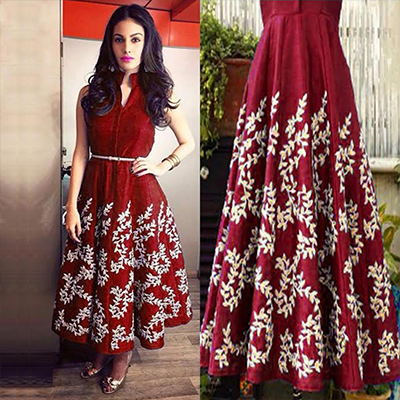 Maroon V Neck Embroidered Kurti