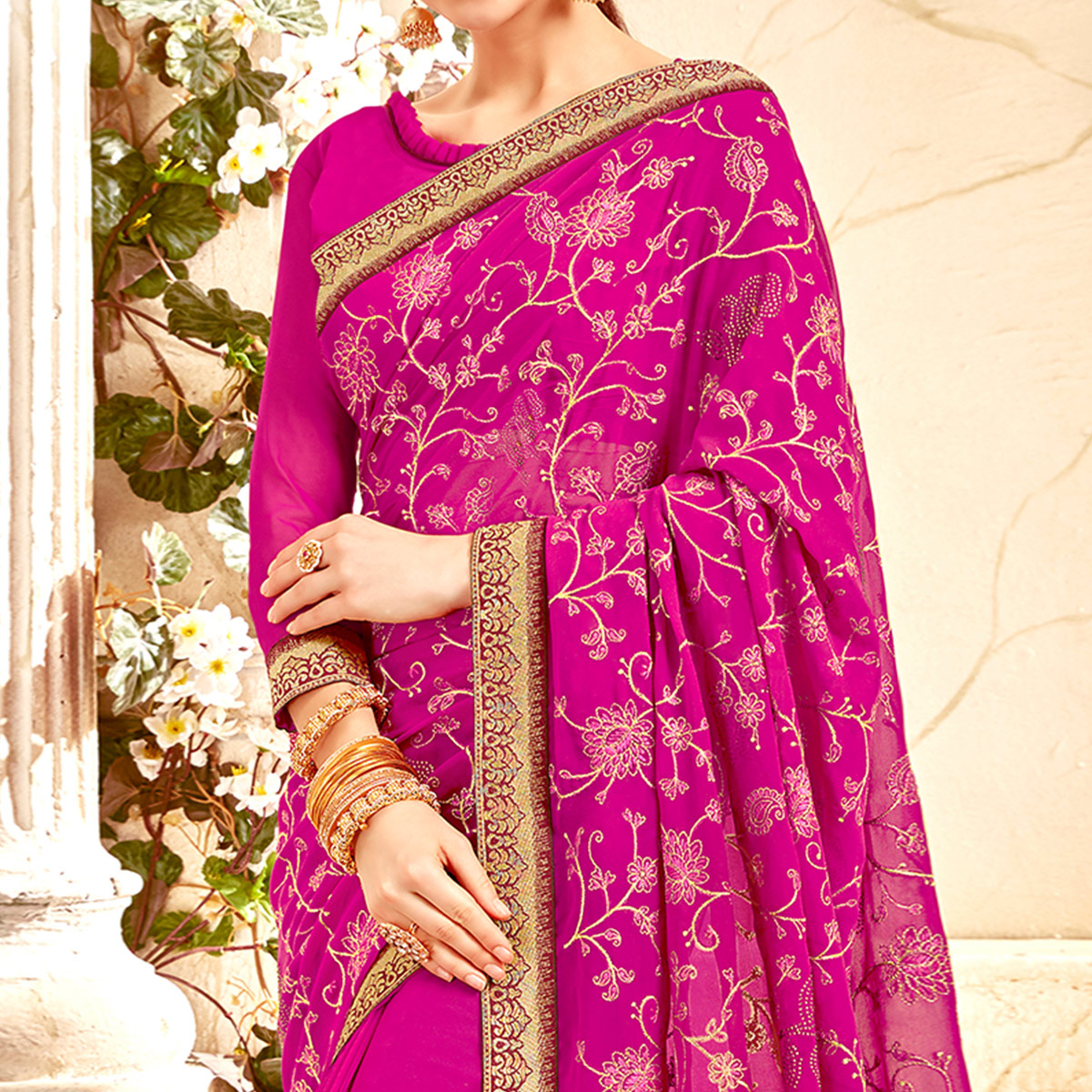 Refreshing Rani Pink Colored Partywear Embroidered Georgette Saree