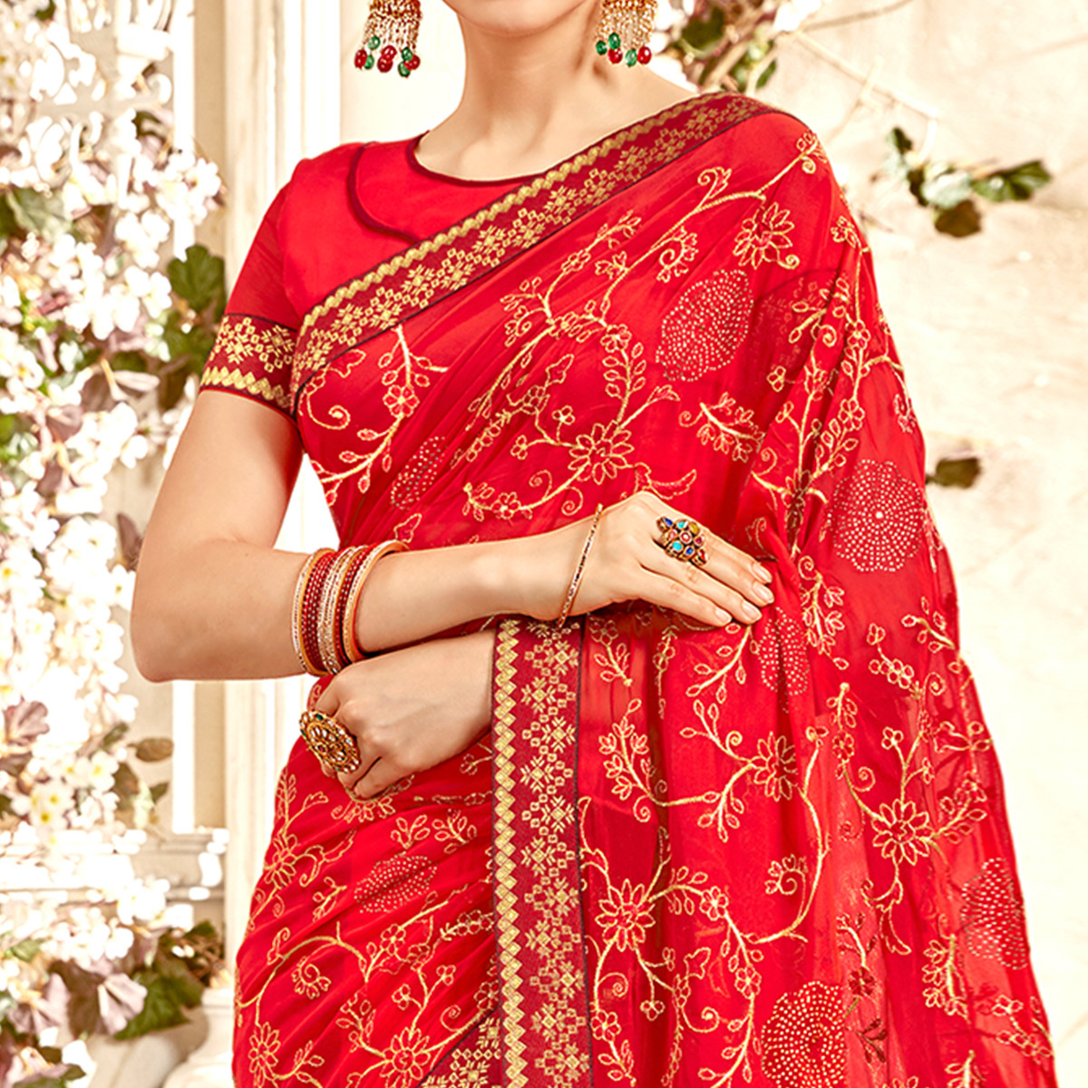Magnetic Red Colored Partywear Embroidered Georgette Saree