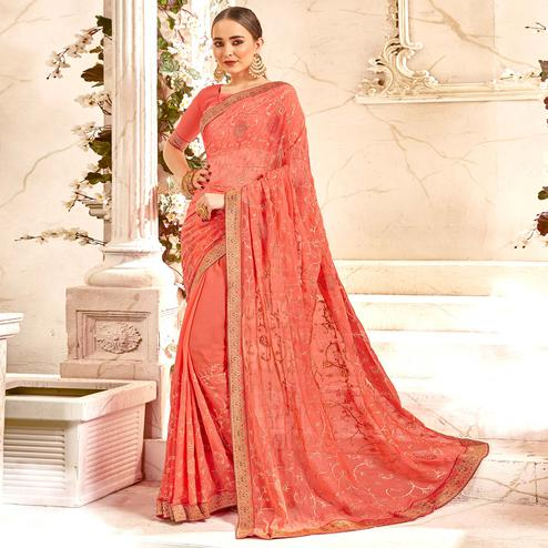Flattering Peach Colored Partywear Embroidered Georgette Saree