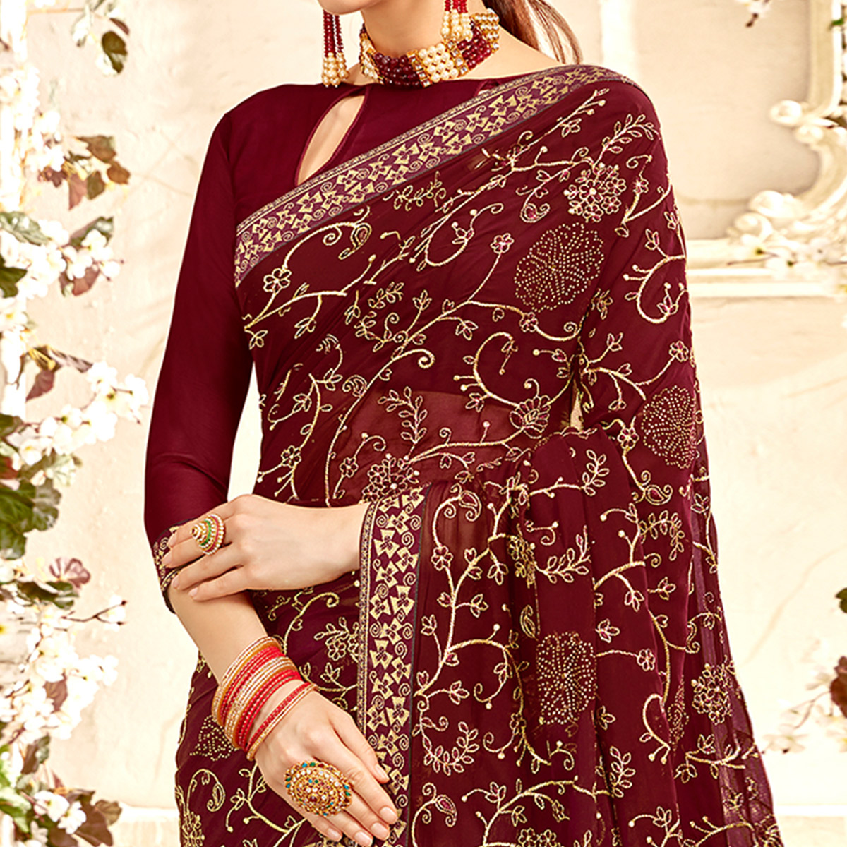 Excellent Brown Colored Partywear Embroidered Georgette Saree