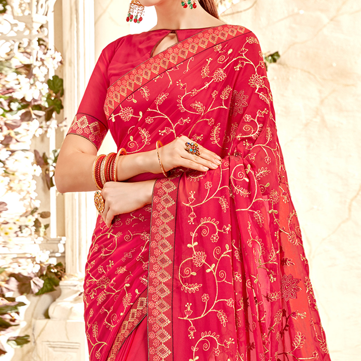Preferable Pink Colored Partywear Embroidered Georgette Saree