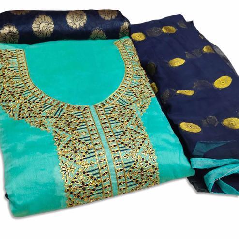Mesmeric Aqua Blue Colored Party Wear Embroidered Chanderi Silk Dress Material