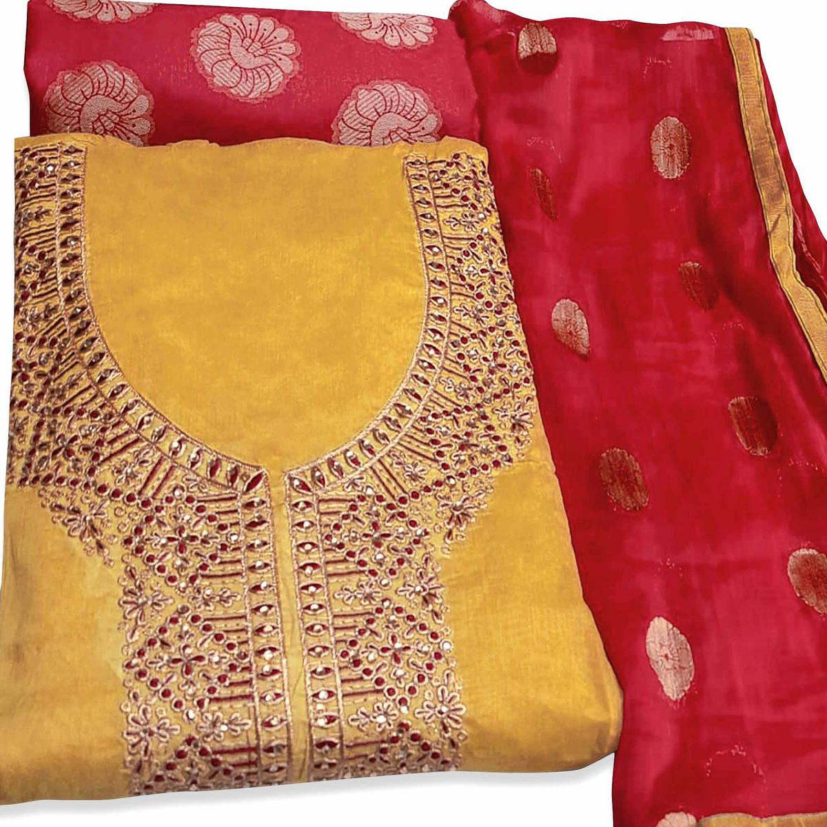 Gleaming Yellow Colored Party Wear Embroidered Chanderi Silk Dress Material