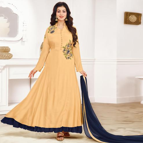 Exceptional Beige Colored Party Wear Embroidered Cotton Anarkali Suit