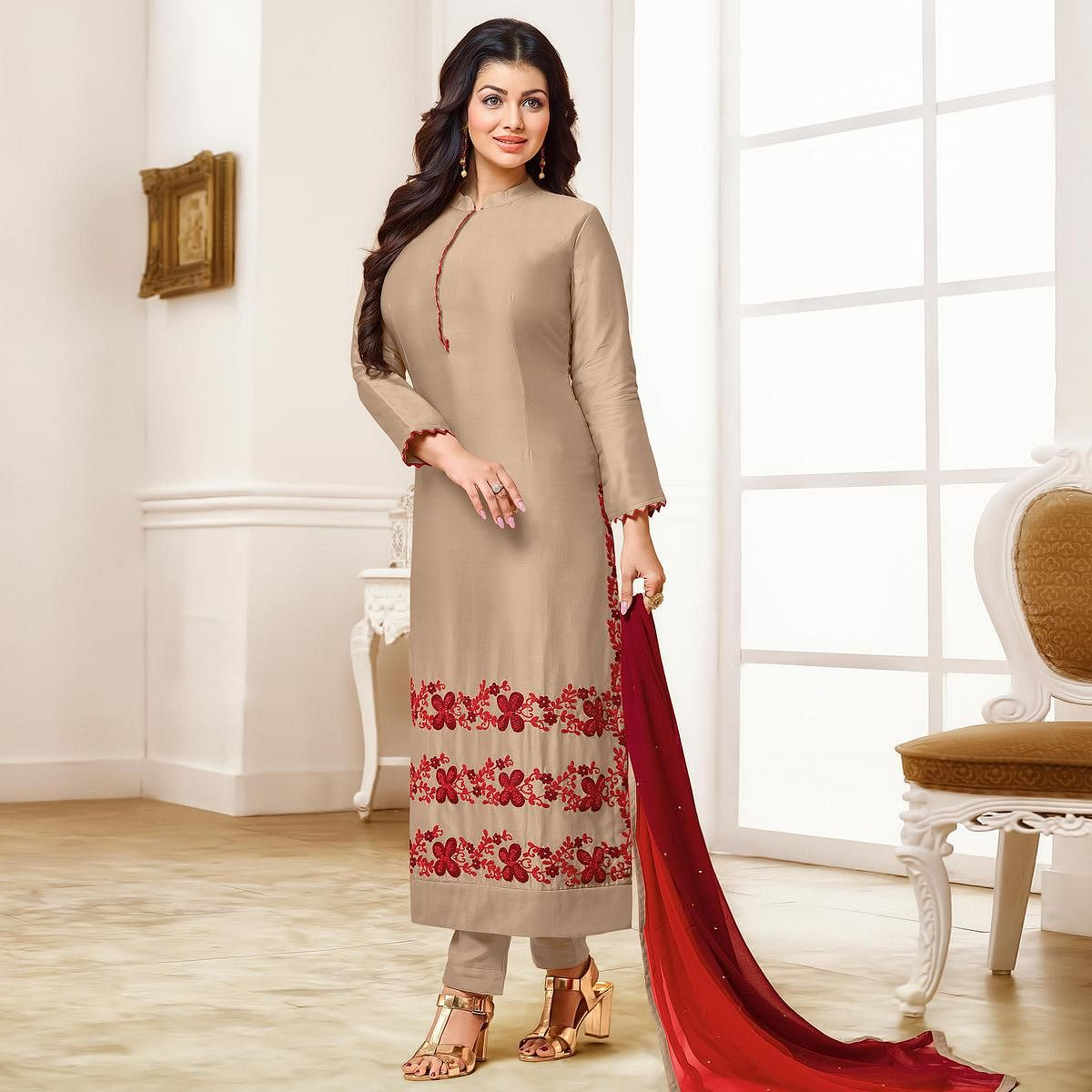 Gleaming Brown Colored Party Wear Embroidered Cotton Suit