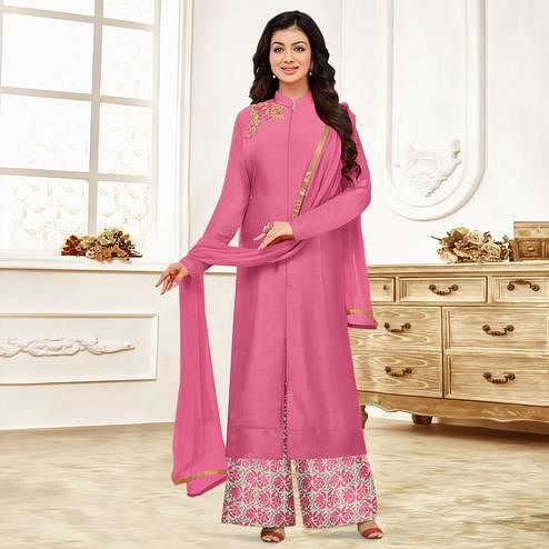 Mesmeric Pink Colored Party Wear Embroidered Cotton Suit