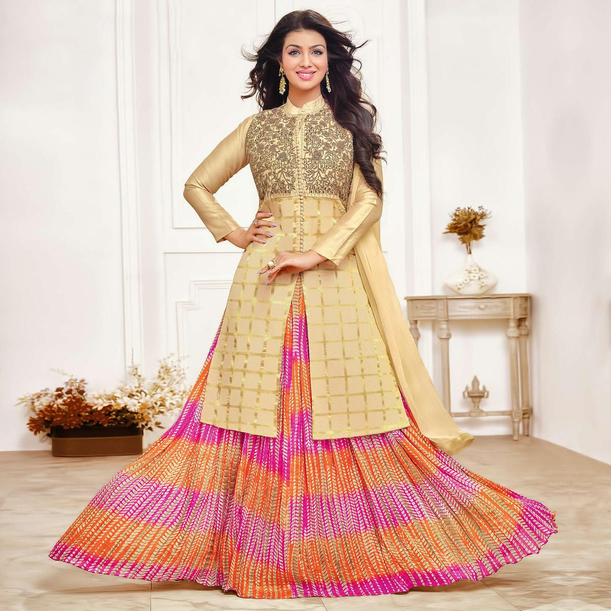 Demanding Beige Colored Party Wear Embroidered Cotton Lehenga Kameez