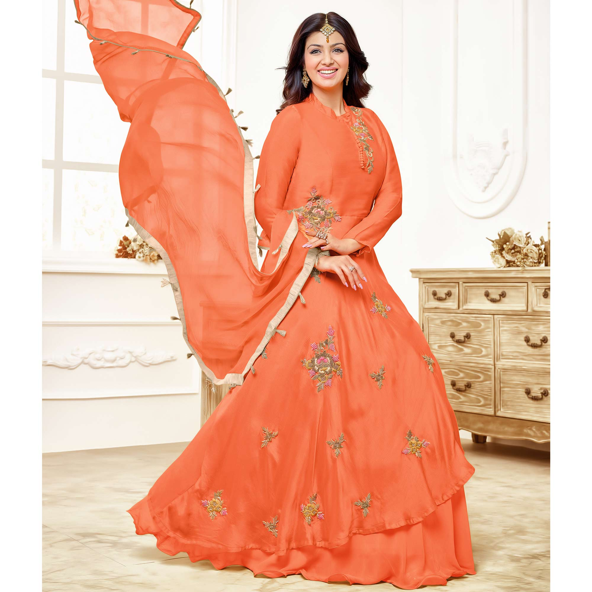 Refreshing Orange Colored Party Wear Embroidered Cotton Anarkali Suit