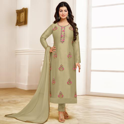 Magnetic Dusty Green Colored Party Wear Embroidered Cotton Suit