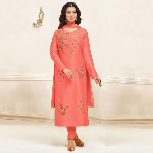 Hypnotic Coral Red Colored Party Wear Embroidered Cotton Suit