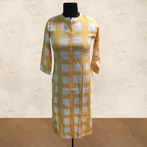 Pleasance Yellow Colored Casual Wear Printed Cotton Kurti
