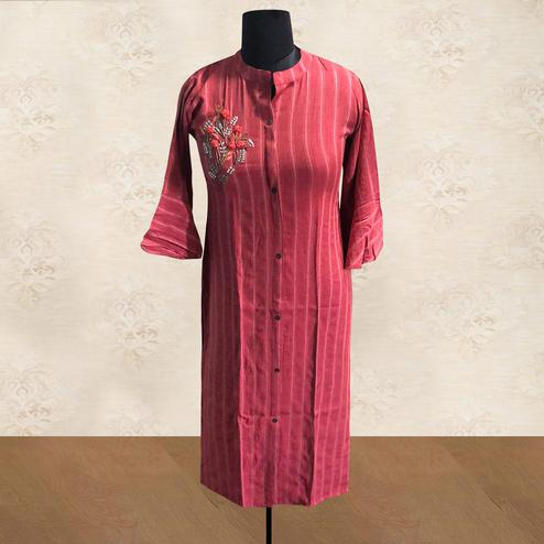 Staring Red Colored Casual Wear Embroidered Cotton Kurti