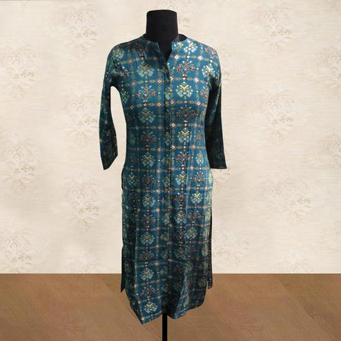 Surpassing Teal Blue Colored Casual Wear Printed Cotton Kurti