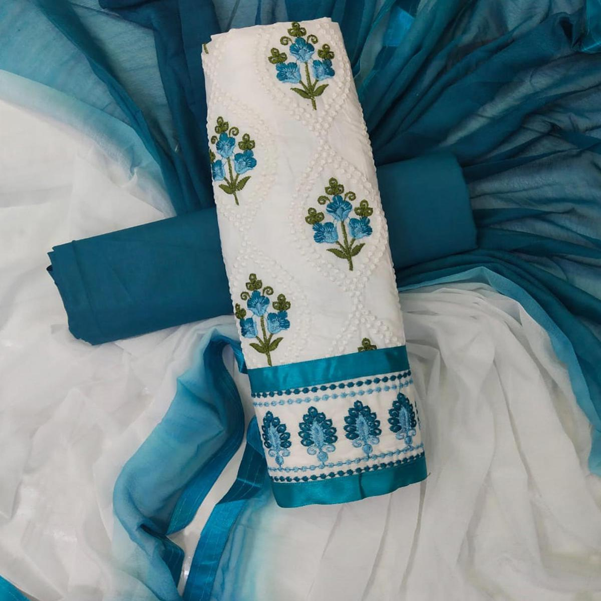 Opulent White-Blue Colored Partywear Embroidered Cotton Dress Material