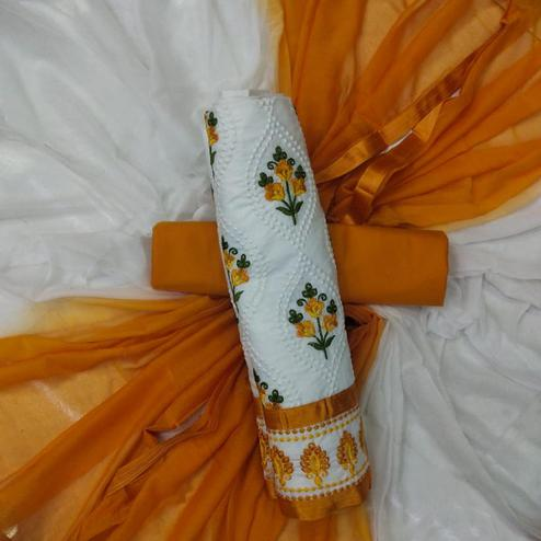 Energetic White-Orange Colored Partywear Embroidered Cotton Dress Material