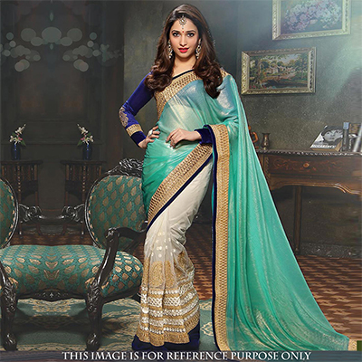 Sea Green - Off White Half Saree