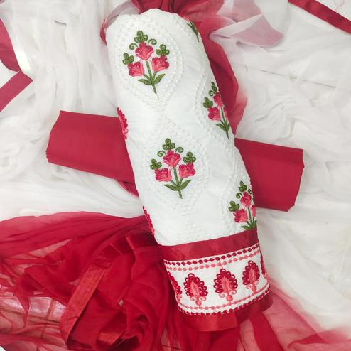 Glowing White-Red Colored Partywear Embroidered Cotton Dress Material