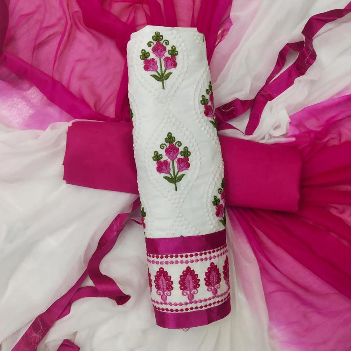 Mesmeric White-Pink Colored Partywear Embroidered Cotton Dress Material