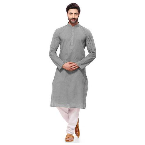 Prominent Grey Colored Festive Wear Cotton Long Kurta