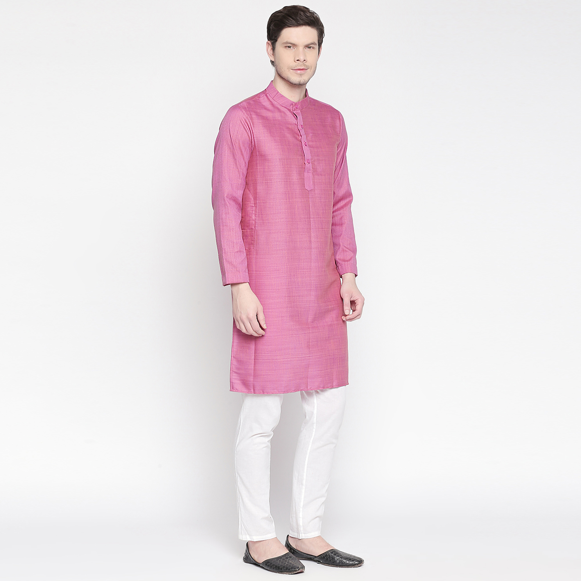 Appealing Magenta Pink Colored Festive Wear Cotton Long Kurta