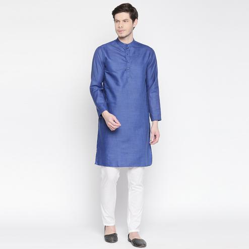 Capricious Blue Colored Festive Wear Cotton Long Kurta