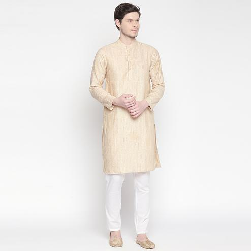 Entrancing Beige Colored Festive Wear Cotton Long Kurta