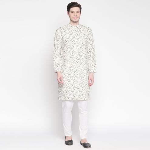 Exclusive Off White Colored Festive Wear Cotton Long Kurta