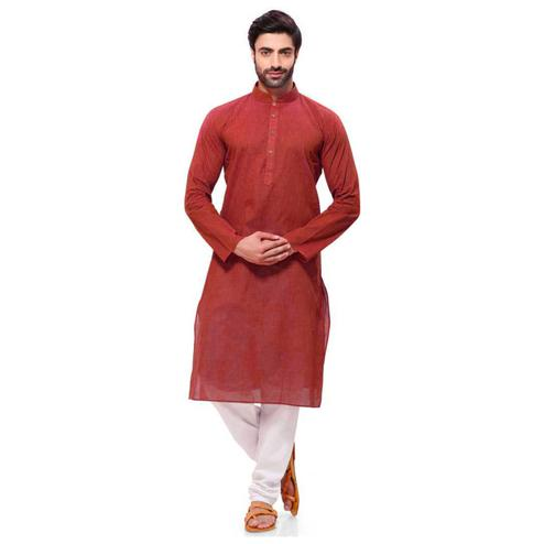 Adorning Maroon Colored Festive Wear Cotton Long Kurta
