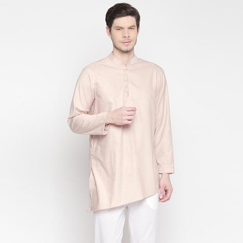 Graceful Beige Colored Festive Wear Cotton Short Kurta with Asymmetric Hem