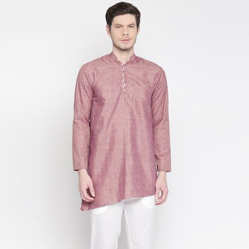 Blooming Mauve Colored Festive Wear Cotton Short Kurta with Asymmetric Hem