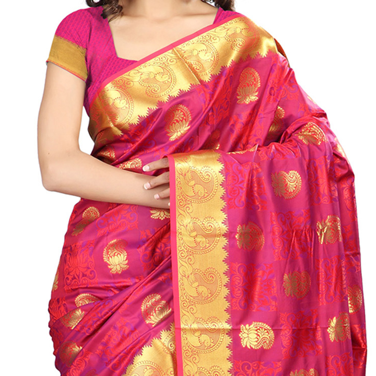 Red - Violet Art Silk Saree